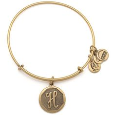 Initial II Expandable Wire Bangle H | Rafaelian Gold ($28) ❤ liked on Polyvore