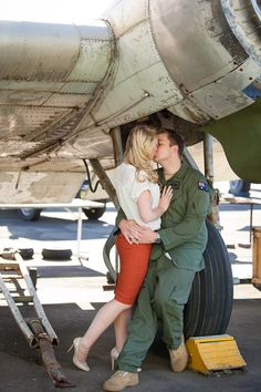 Vintage plane for an Air Force engagement shoot. Welsch Photography.