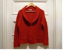 Vintage spicy orange shawl collar cardigan / 90s burnt orange grunge hipster sweater /grandpa style cardigan / womens MEDIUM LARGE #vintage sweaters
