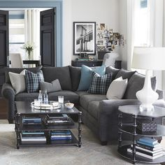 Sectional. Love the blue plaid accents.