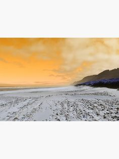 """""""Beach with white sand and pebbles with orange sky"""" Metal Print by Artlajf. Modern photography available also as poster, pints, sticker, on t-shirt etc. Orange Sky, Pints, Modern Photography, Nature Photos, Photo Art, Sticker, Canvas Prints, Wall Art, Metal"""