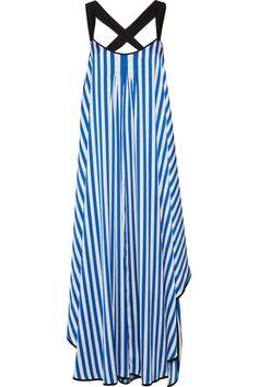 By Malene Birger - Shalana Asymmetric Striped Satin Maxi Dress - Blue - DK40