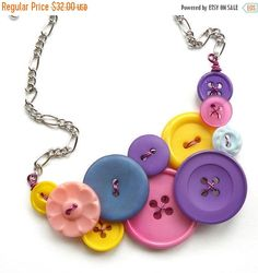 Spring Sale Bright Colorful Vintage Button Statement Necklace in pink, blue, yellow, purple by buttonsoupjewelry on Etsy