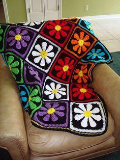 SummaMamaT on Ravelry's version of the Daisy Flower Crochet Charity Square, a free crochet pattern by Krystal Nadrutach