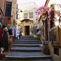 visitheworld: Local shops on the streets of Chania, Crete Island, Greece (by Atli Harðarson).