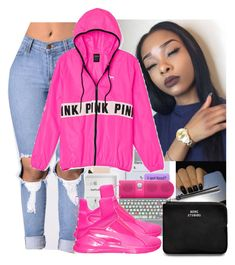 """""""Is u with me or what?"""" by wavyjai ❤ liked on Polyvore featuring Victoria's Secret PINK, Puma and Acne Studios"""