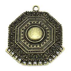 "DoreenBeads Zinc metal alloy Connectors Findings Hexagon Antique Bronze 4.7cm(1 7/8"")x 4.2cm(1 5/8""),1 Piece"