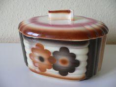 Keramikdose Deckeldose Spritzdekor, Elsterwerda, ArtDeco um 1930