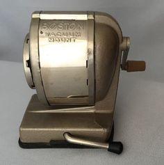Vintage Boston Vacuum Mount Pencil Sharpener 8 Hole Made USA Chrome Desk #VacuumMount