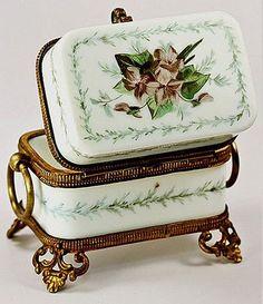 Antique French White Opaline Sugar Casket, HP & Ormolu | eBay