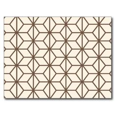 Brown and beige geometric art-deco pattern postcards