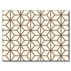 Brown and beige geometric art-deco pattern postcards