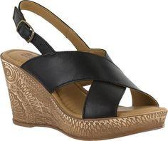Bella Vita Women's Lea-Italy Slingback Wedge Sandal Black Leather Size 9.5 W