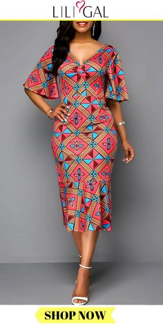 Red V Neck Side Zipper Tribal Print Butterfly Sleeve Midi Dress Source by liligalwomensfashion fashion dresses Short African Dresses, African Blouses, African Print Dresses, African Dress Styles, African Fashion Ankara, Latest African Fashion Dresses, African Print Fashion, Africa Fashion, African Style
