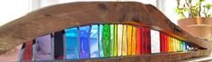 'Landscape' stained glass in reclaimed pitch pine - indoor sculpture by Louise V Durham