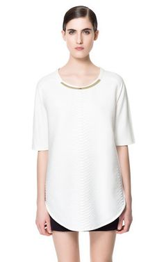 SNAKE PATTERN TOP WITH COLLAR DETAIL - T-shirts - Woman - ZARA United States