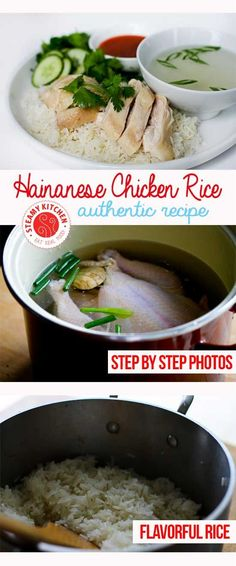 Hainanese Chicken Rice Recipe with step by step photos for the perfect rice and chicken skin texture ~ http://steamykitchen.com
