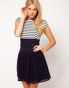 ASOS Skater Dress With Stripe Top And Chiffon Skirt, a striped top with a boat neckline, puff shoulders, fitted waistband with button cinch detailing, pleated chiffon skater skirt and exposed zip fastening through the back.