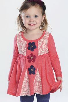 Bunnies Picnic - Baby Sara Nouveau Boho Tunic with Lace and Denim Jeggings - Girls Boutique Clothes