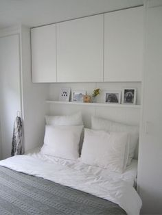 Lots of storage in a small bedroom.