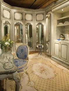 MY DRESSINGROOM! Oh the mirrors, the aubusson rug, the toile chair.......heaven!