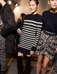 Robe pull marinière noir et blanc - Isabel Marant