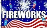 Fireworks (Patriotic) 3x5 Polyester Flag by Vista Flags. $5.80. Durable, Light Weight. Reinforced Hoist Side. Large 3 foot by 5 foot. In stock ships within 1 business day!. Polyester Fabric. Our version of this flag is made of light-weight polyester for durability. It is a large 3 foot by 5 foot flag, and has a reinforced hoist side, with 2 metal grommets.