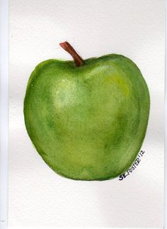 4 x 6 Original Green Apple Painting water-colour #lifeinstyle #greenwithenvy