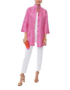 Rita Pink and White Gingham Silk Top by Connie Roberson on Halsbrook Fashion 2018, Luxury Fashion, Fashion Trends, Stretch Pants, Stretch Fabric, Riding Breeches, Look Magazine, Pink Gingham, Slim Fit Pants