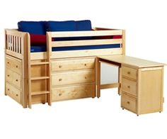 Maxtrix BOX1 Low Loft Bed with Desk and Dressers www.ekidsrooms.com