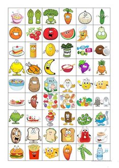 This game is a combination of a bingo and a concentration game. It contains 7 boards and 70 picture cards related to food and drink vocabulary that students need. Preschool Learning Activities, Language Activities, Teaching Kids, Group Activities, Bingo For Kids, Games For Kids, Food Pyramid Kids, Concentration Games, Strawberry Nutrition Facts