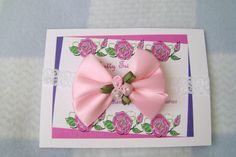 Pink Satin and Roses Boutique Infant Bow by TurtlestonesBoutique, $3.75