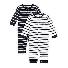 J by Jasper Conran - Designer Babies set of two navy striped baby grows  debenhams.com