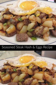 This Seasoned Steak Hash Recipe is absolutely delicious and fulfilling!  If you're looking for a hearty breakfast or brunch that the whole family will love, look no further! #recipe #food #steak #hash #eggs #steakhash #hasheggs #bellpeppers #Fallmeals #meals #breakfast #brunch #brunchrecipes #brunchideas #breakfast recipes