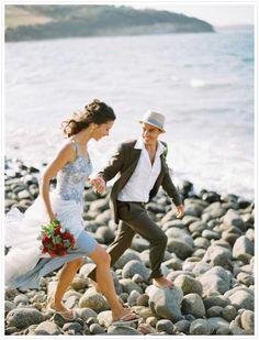 Beach wedding, light blue dress (love the matching band on groom's hat)