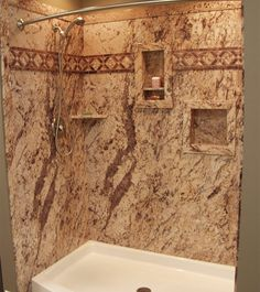 Shower Idea - granite shower walls and seat, built in shower ...