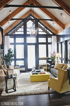 Stunning windows & beams on the ceiling!