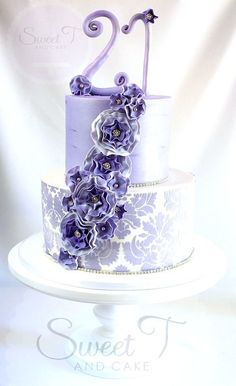 Lavender elegance #21st #birthday #cake - made by Sweet T & Cakes