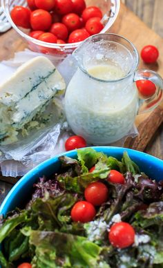 Blue Cheese Vinaigrette has plenty of blue cheese flavor without all the heaviness of a creamy dressing. So good on a green salad! Blue Cheese Vinaigrette, Strawberry Fields Salad, Sauces, Ginger Salad Dressings, Salads For A Crowd, Salad Sauce, Warm Salad, Southern Kitchens, Easy Salad Recipes