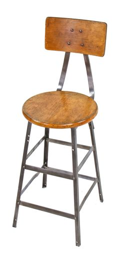 refinished original late 1940's american industrial riveted joint angled iron four-legged pollard brothers factory machine shop stool with maple seat and backrest