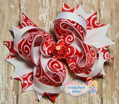 Valentine's Day Hair Bow Red and White Hair Bow by CrazyBoutBows #hairbows
