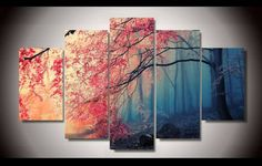 Own this amazing red maple tree forest wall canvas today we will ship the canvas for free. This is the perfect centerpiece for your home. It is easy to assemble and hang the panels together which makes this a great gift for your loved ones.  This painting is printed not handpainted and is ready to hang! We have 1 options for this canvas -- Size 1: (20x35cmx2pcs, 20x45cmx2pcs, 20x55cmx1pc) Limited quantities left. www.octotreasures.com