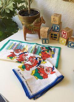 Vintage/ Disney/ hankerchief / the 7 dwarfs / seven dwarfs/ Snow white and the seven dwarfs/ Blue / green 7 Dwarfs, Seven Dwarfs, Cotton Textile, The Seven, Vintage Disney, Pocket Square, Vintage Children, Your Favorite, Blue Green