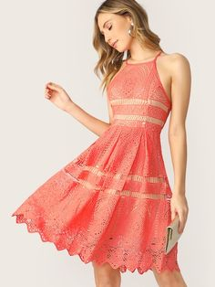 182fda354b Fit And Flare Lace Halter Neck Back Keyhole Dress #fashion #trends #styles #