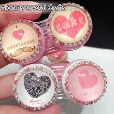 Heart Crystal Contact Lenses CaseCute by AlonmyCrystalCrafts Contact Lens Cases, Eye Contact Lenses, Xmas Gifts, Shapes, Unique Jewelry, Crystals, Handmade Gifts, Heart, Middle School
