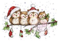 weihnachten motive Wild Rose Studio - Clear Stamp - Owls on Branch - neu! Wild Rose Studio - Clear Stamp - Owls on Branch Christmas Bird, Christmas Drawing, Christmas Scenes, Christmas Clipart, Christmas Paintings, Christmas Printables, Winter Christmas, Vintage Christmas, Christmas Crafts