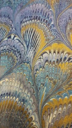 Blue and Yellow Peacock inspiration on this marbled paper from Il Papiro… Fabric Paper, Paper Art, Paper Crafts, Marble Painting, Marble Art, Ebru Art, Marble Games, Illusion Art, Bookbinding