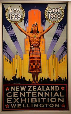 Very Rare New Zealand Centennial Exhibition Wellington Poster Vintage Travel Posters, Vintage Postcards, Vintage Ephemera, Vintage Advertisements, Vintage Ads, Johann Wolfgang Von Goethe, Retro Poster, Railway Posters, Kiwiana