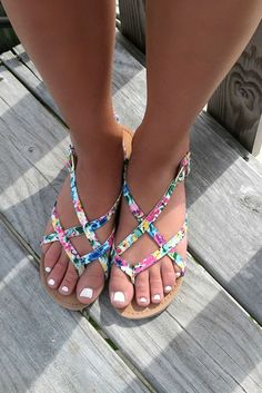 Monterey Bay Floral Print Flat Strappy Sandals