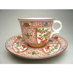 清水焼 赤絵コーヒー茶碗 松泉作